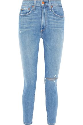 ALICE + OLIVIA JEANS Good cropped distressed high-rise skinny jeans