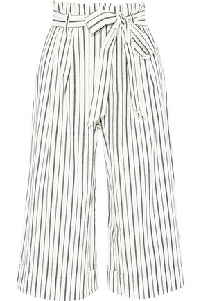 ALICE + OLIVIA Ryan belted striped stretch-cotton culottes