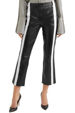 MUGLER Striped leather kick-flare pants