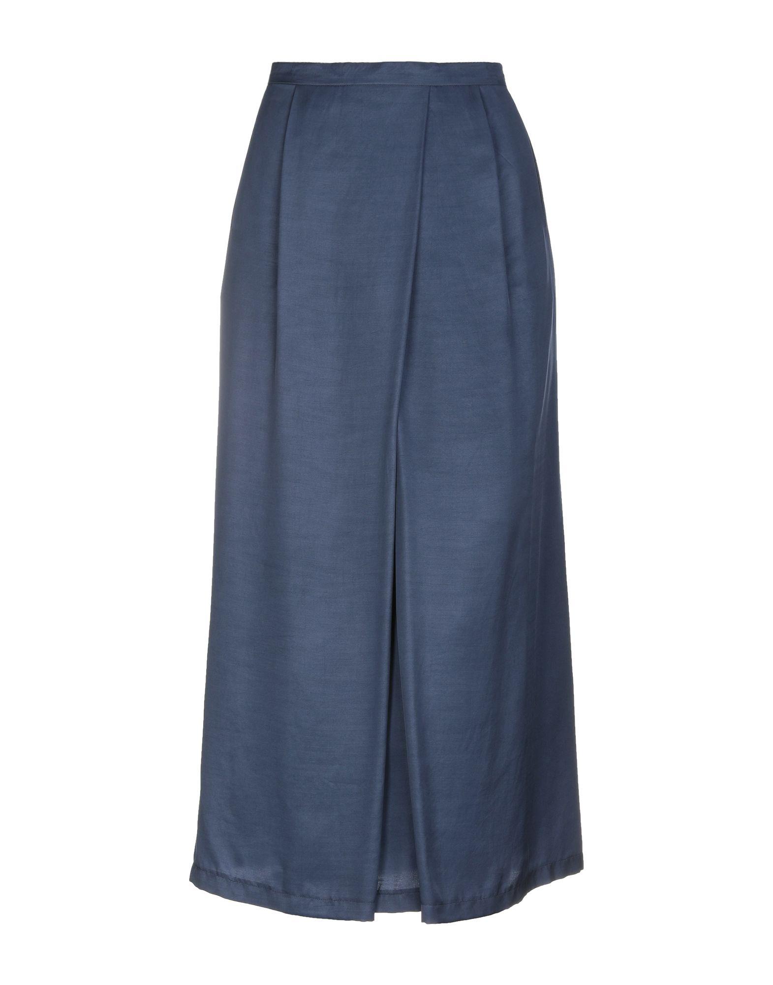 《送料無料》DIANA GALLESI レディース 7分丈スカート ダークブルー 46 キュプラ 100%
