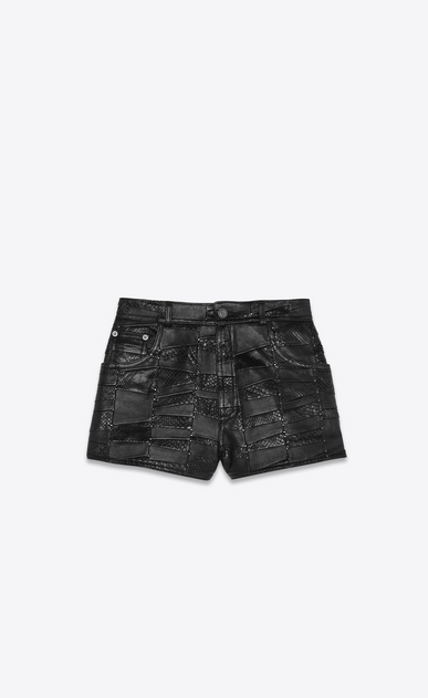 High-waist shorts in a python and lamb patchwork with studs