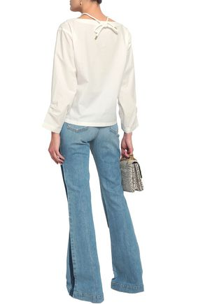 DEREK LAM 10 CROSBY Striped high-rise flared jeans