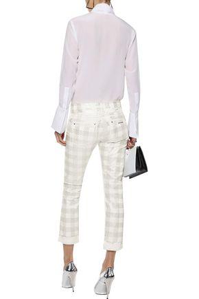 ROBERTO CAVALLI Metallic printed low-rise skinny jeans