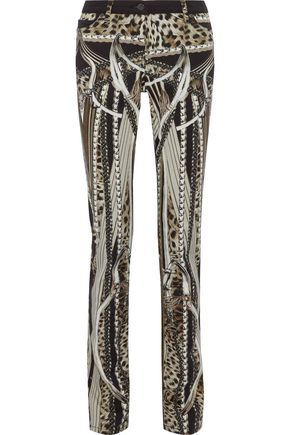 ROBERTO CAVALLI Printed denim slim-leg pants