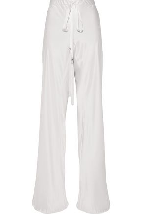 ROBERTO CAVALLI Tasseled silk-satin wide-leg pants