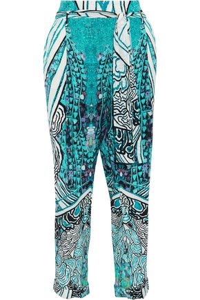 ROBERTO CAVALLI Cropped printed silk crepe de chine tapered pants