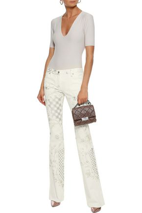 ROBERTO CAVALLI Printed low-rise flared jeans