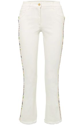 ETRO Embroidered grosgain-trimmed high-rise kick-flare jeans