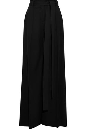 CAROLINA HERRERA Tie-front stretch-wool crepe wide-leg pants