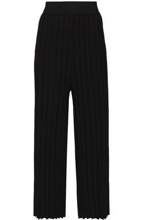 DEREK LAM 10 CROSBY Pleated stretch-knit wide-leg pants