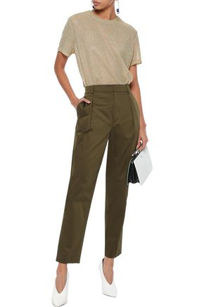 ALICE + OLIVIA Cotton-blend sateen tapered pants