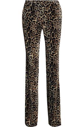 ROBERTO CAVALLI Leopard-print velvet straight-leg pants