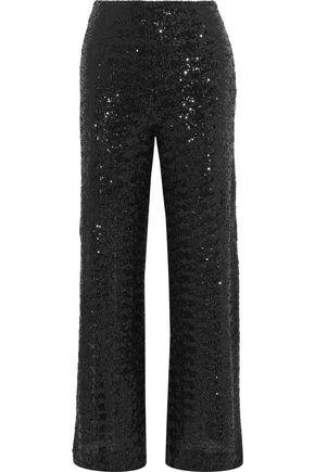 ROLAND MOURET Ailish sequined mesh wide-leg pants