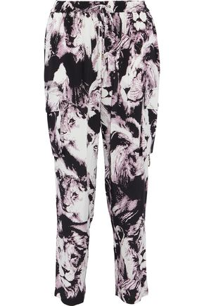 ROBERTO CAVALLI Printed silk crepe de chine tapered pants