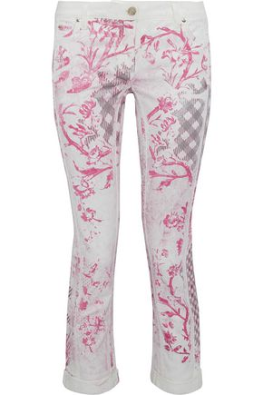 ROBERTO CAVALLI Cropped metallic printed low-rise skinny jeans