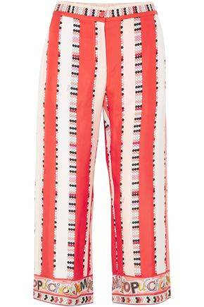 EMILIO PUCCI Cropped printed silk-twill wide-leg pants