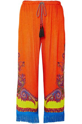 ETRO Fringe-trimmed printed stretch-knit wide-leg pants