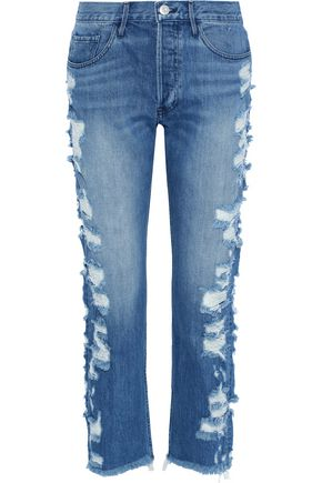 3x1 Higher Ground cropped distressed mid-rise straight-leg jeans