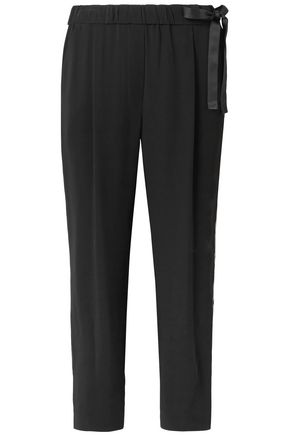 BRUNELLO CUCINELLI Bow-detailed crepe tapered pants
