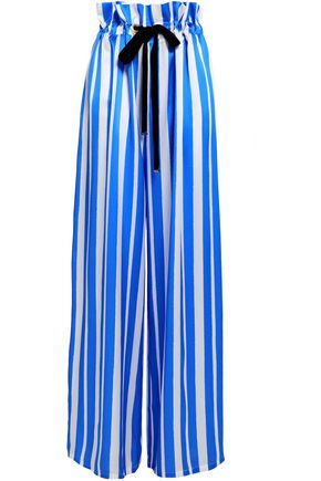 MOTHER OF PEARL Striped silk-satin wide-leg pants