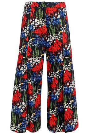 MOTHER OF PEARL Bennie faux pearl-embellished floral-print stretch-cotton culottes