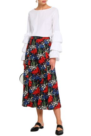 MOTHER OF PEARL Bennie faux pearl-embellished floral-print stretch-cotton  culottes 032a28698944d