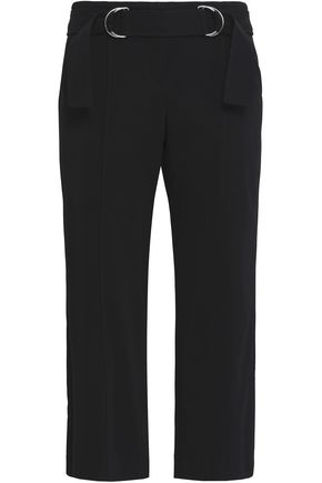 A.L.C. Cropped belted stretch-crepe straight-leg pants