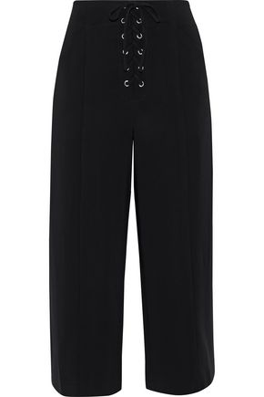 A.L.C. Kyt lace-up cropped stretch-crepe wide-leg pants
