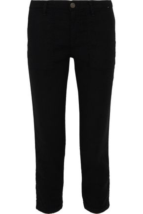 JOIE Dolorita cropped brushed-twill tapered pants