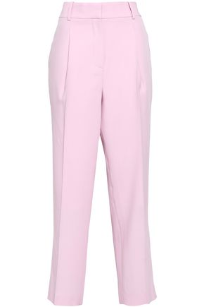 BOTTEGA VENETA Cropped pleated wool tapered pants