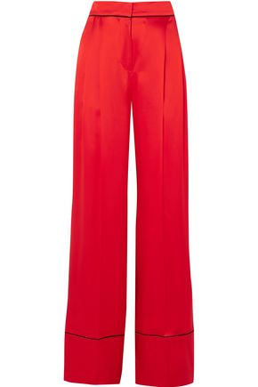 Silk Satin Wide Leg Pants by Alexander Mcqueen