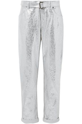 TOM FORD Metallic crinkled cotton and linen-blend tapered pants