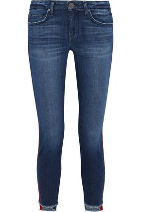 JOIE Bon Voyage cropped satin-trimmed mid-rise skinny jeans