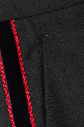 CALVIN KLEIN 205W39NYC Velvet-trimmed stretch-wool slim-leg pants