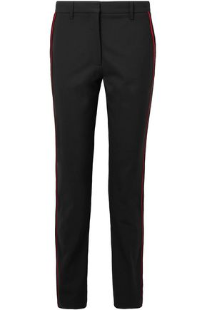 CALVIN KLEIN 205W39NYC Velvet-trimmed stretch-wool slim-leg pants