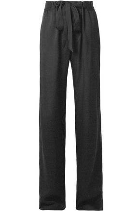 TOM FORD Leather-trimmed twill straight-leg pants
