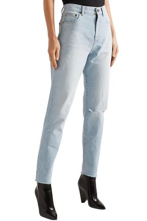 SAINT LAURENT Distressed high-rise slim-leg jeans