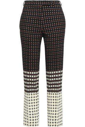 ETRO Printed stretch-wool crepe straight-leg pants
