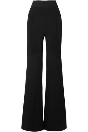 BALMAIN Ribbed-knit wide-leg pants