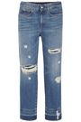 STELLA McCARTNEY Cropped distressed high-rise straight-leg jeans