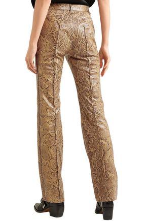 CHLOÉ Snake-effect leather straight-leg pants