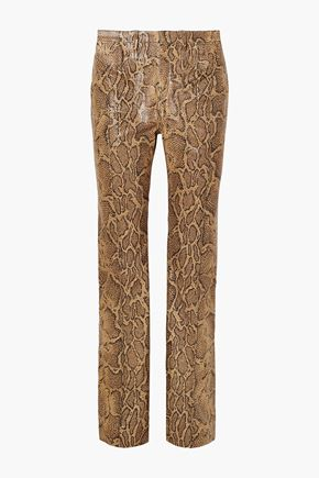 CHLOÉ Snake-effect leather straight-leg pants