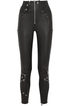ALEXANDER MCQUEEN Zip-embellished leather skinny pants