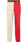 CALVIN KLEIN 205W39NYC Color-block cotton-twill straight-leg pants