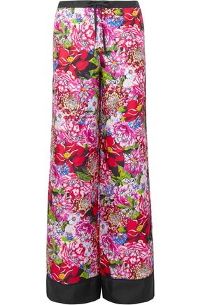 MARY KATRANTZOU Floral-print silk-twill wide-leg pants