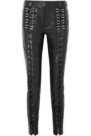 MUGLER Embellished lace-up leather slim-leg pants