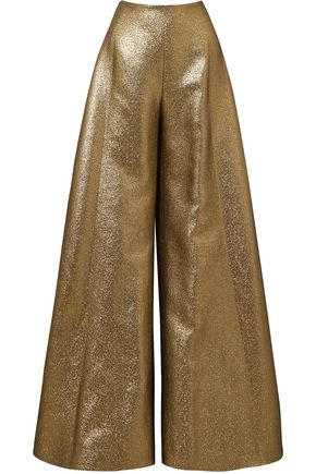 REEM ACRA Metallic cotton-blend lamé wide-leg pants
