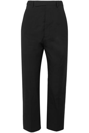 RICK OWENS Leather-trimmed cotton-blend straight-leg pants
