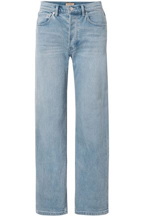 BURBERRY Button-detailed high-rise straight-leg jeans