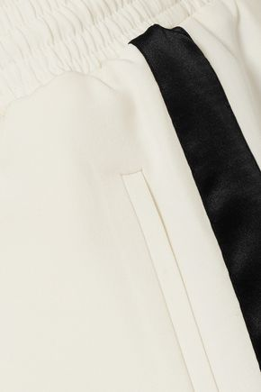 BURBERRY Striped silk and wool-blend crepe track pants
